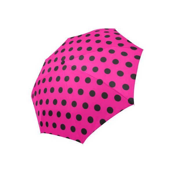 Pink Polka Auto-Foldable Umbrella ($30) ❤ liked on Polyvore featuring accessories, umbrellas, pink polka dot umbrella, polka dot umbrella, dot umbrella, pink umbrella and folding umbrella