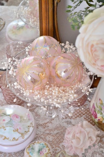 Gorgeous Pink Christmas Display ~ This Says Christmas, But I Donu0027t Know Why  It Couldnu0027t Be Anytime. Shiny Sparkly Ornaments Shouldnu0027t Just Be For The  ...
