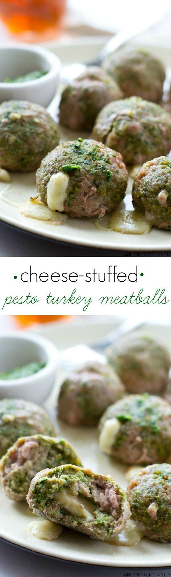 Exploding with gooey mozzarella cheese and super-moist from the pesto, these flavorful turkey meatballs are a weeknight dinner dream!