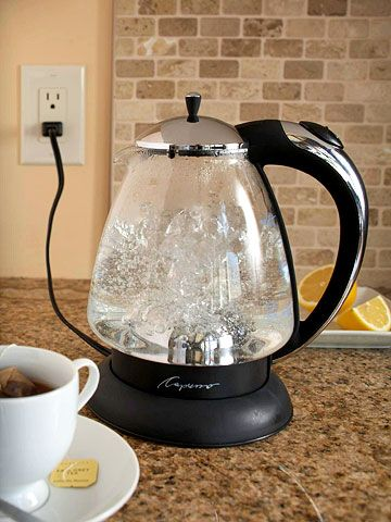 It makes sense: A small appliance is more efficient than a big one. For cooking modest portions or heating leftovers, a microwave or toaster uses less energy than an oven or stove, and an electric kettle eats less power than heating water on a cooktop. Shown: Capresso H20 Glass Water Kettle with chrome finish (AbtElectronics.com, $69).