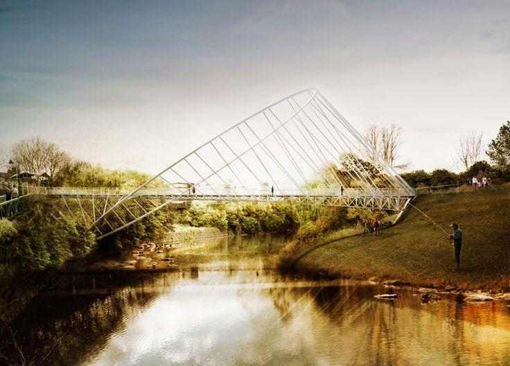 Elliptical Bridge for a new pedestrian bridge in Salford, England. Design and Rendering by Penda