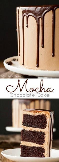 A rich dark chocolate cake with a silky mocha swiss meringue buttercream.   livforcake.com