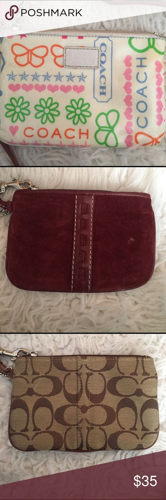 Small Coach wristlets.. Small white print Coach wristlet. Small maroon Coach wristlet. Small tan and brown Coach wristlet. All authentic. PERFECT size for little girls. $35.00 each or all three for $100.00. Coach Bags Clutches & Wristlets