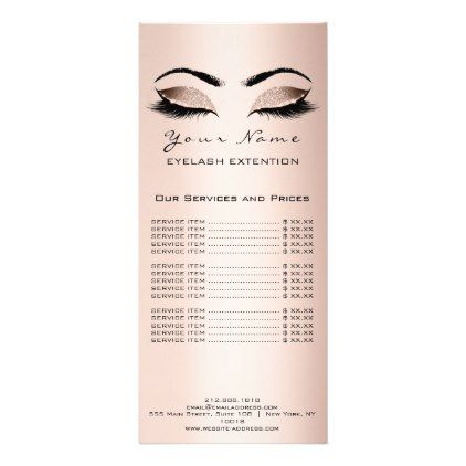 Price List Lashes Extension Makeup Artist  Pink Rack Card - logo gifts art unique customize personalize