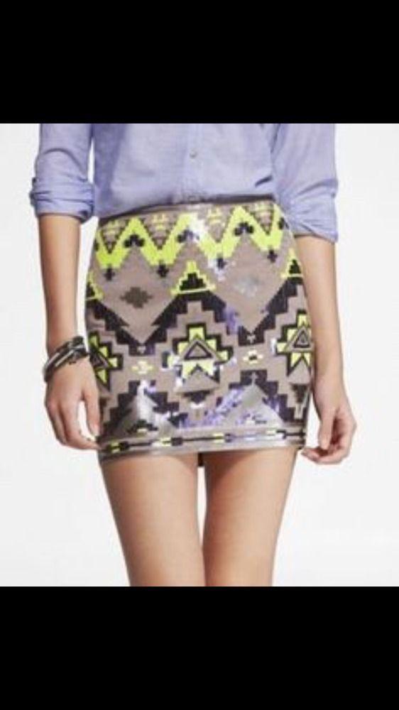 Express, Medium, Olive Neon & Black Sequins Aztec Tribal Mini Skirt, Easter #Express #Mini
