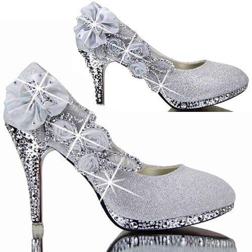Sparkly Silver High Heel Bridal Wedding Cocktail Party Evening Shoes SKU-1091371