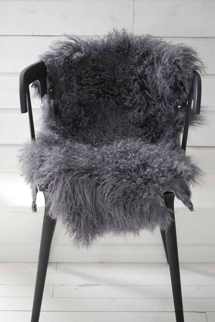 Dove Gray Home Decor; Grey Faux Fur Over Chair Seat; White Faux Sheepskin  (ikea) Works As Well