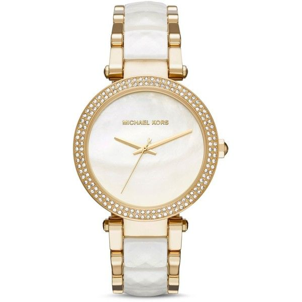Michael Kors Parker Watch, 39mm found on Polyvore featuring polyvore, women's fashion, jewelry, watches, accessories, bracelets, michael kors watches, michael kors, mother of pearl watches and mother of pearl jewelry