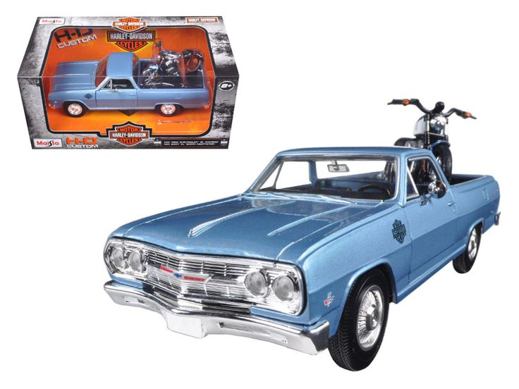 1965 Chevrolet El Camino 1/25 With 2007 Harley Davidson XL 1200N Nightster Motorcycle 1/24 by Maisto - Brand new 1:25 scale diecast car model of 1965 Chevrolet El Camino Blue With 1/24 2007 Harley Davidson XL 1200N Nightster Motorcycle by Maisto. Brand new box. Rubber tires. Has opening doors. Detailed interior, exterior. Made of diecast metal with some plastic parts. Dimensions approximately L-8, W-3, H-3 inches. Please note that manufacturer may change packing box at anytime. Product will…