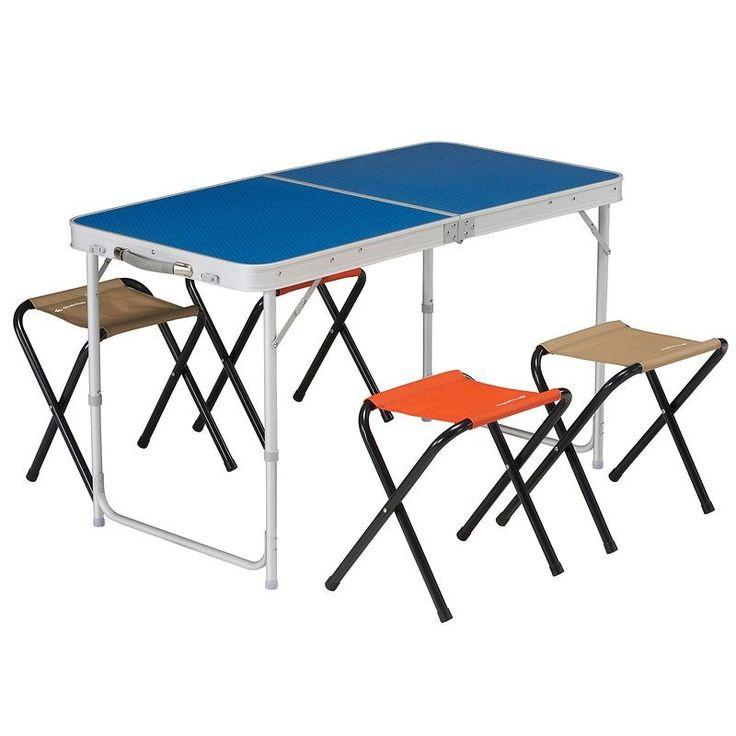 Masalar, Sandalyeler Doğa Yürüyüşü - 4/6 Kişilik Katlanır Kamp Masası + 4 Tabure / mavi QUECHUA - Doğa Yürüyüşü