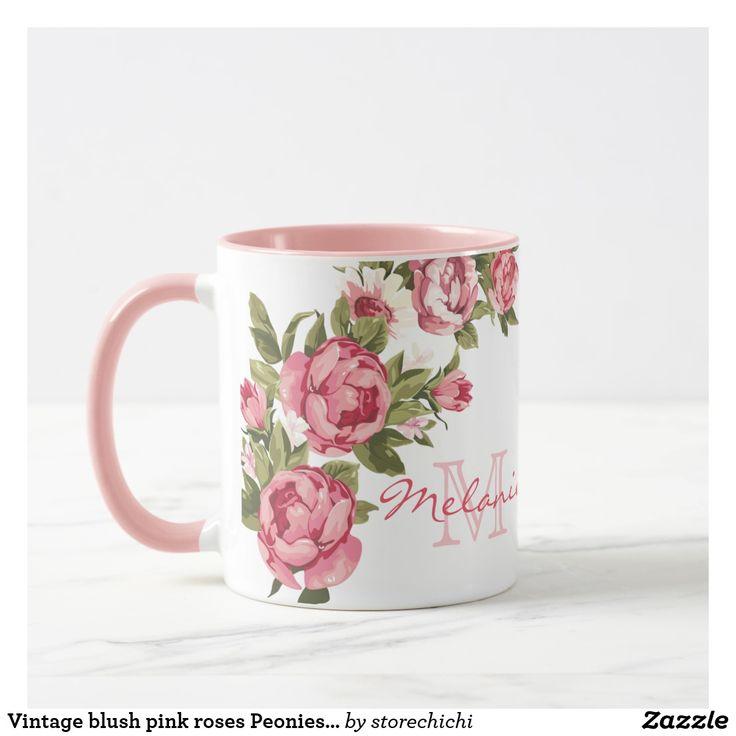 Vintage blush pink roses Peonies name, monogram