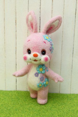 "花うさぎ | Needle felted animal ""Flower Bunny"""