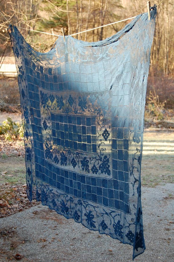 Indigo Hand Dyed Vintage Lace Tablecloth At Enhabiten Via Etsy.