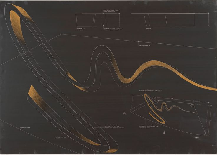 Zaha Hadid's photographic negative print of Sperm Table, 1988
