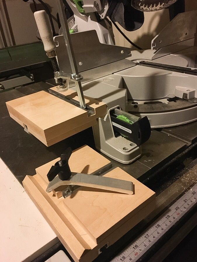 Shop made Festool Kapex crown stops