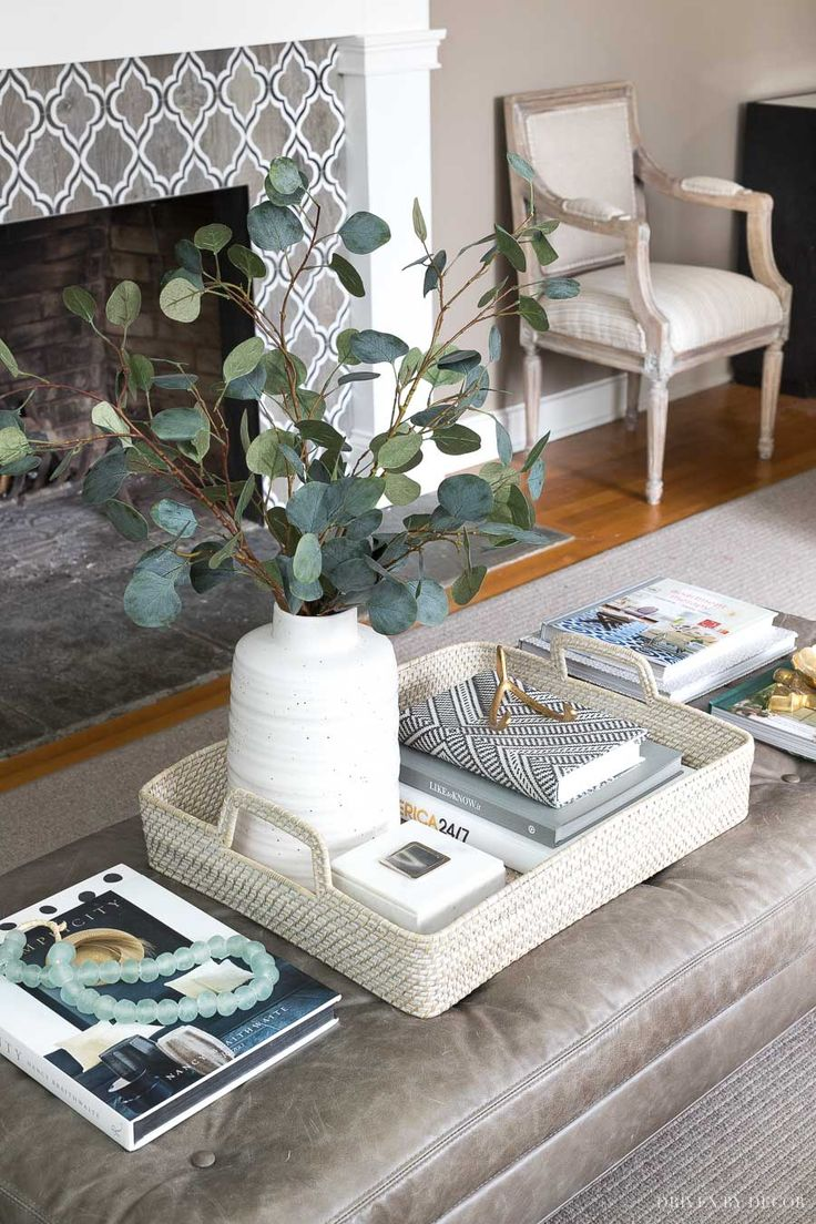Simple coffee table decor I love! Tray, faux eucalyptus, and other accessories are linked in the post!