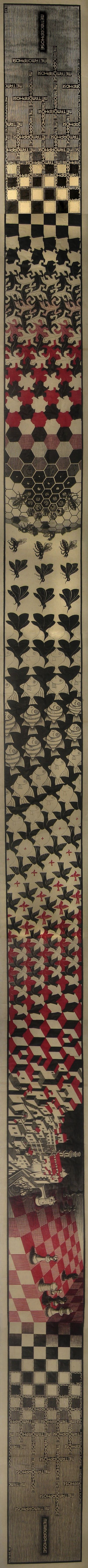 http://UpCycle.CLub Forever Elusive Metamorphosis II by M.C. Escher @upcycleclub https://www.pinterest.com/upcycleclub/upcycle-art-life-historyproject/