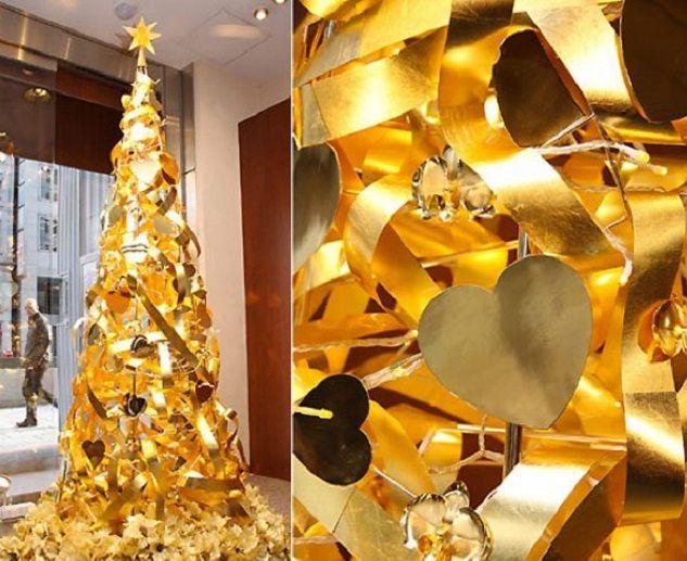 A modern golden christmas tree.