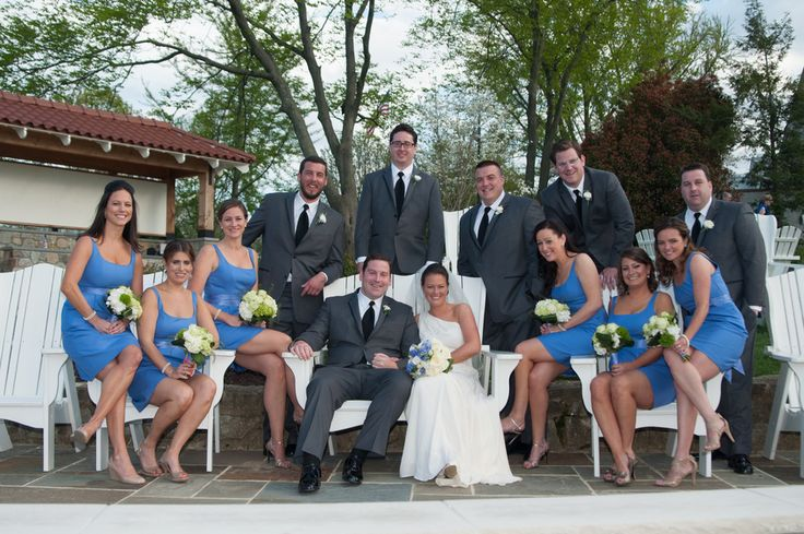 These maids look pretty and chic in their blue scoop neck gowns! Love!  #brideside #realwedding #wedding #preppy #blue #bridesmaids #love #bridalparty   preppy country club wedding with shades of blue and green   Brideside