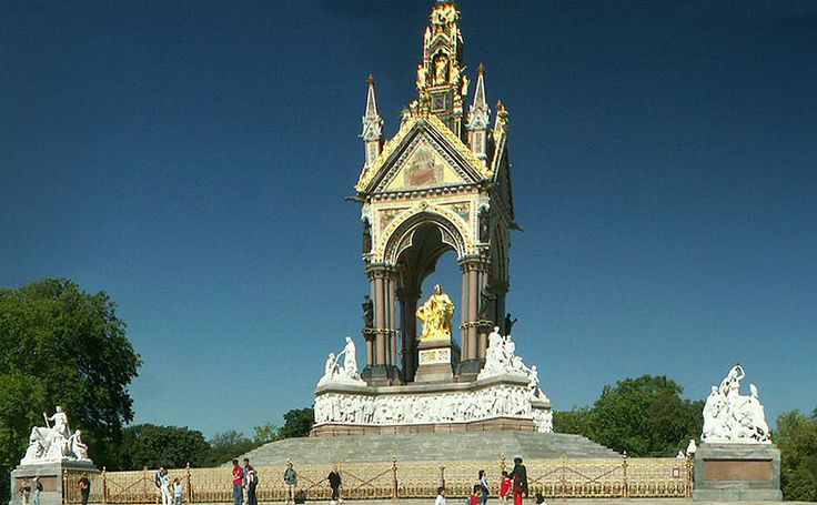 The Albert Memorial - Officially titled the Prince Consort National Memorial, it celebrates Victorian achievement and Prince Albert's passions and interests. Marble figures representing Europe, Asia, Africa and America stand at each corner of the memorial, and higher up are further figures representing manufacture, commerce, agriculture and engineering. Yet further up, near the top, are gilded bronze statues of the angels and virtues.
