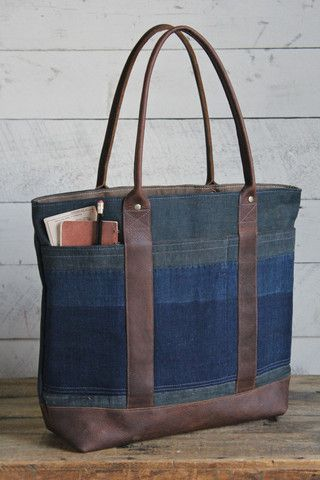 Early 1900's Indigo Dyed Boro Cotton Carryall - FORESTBOUND