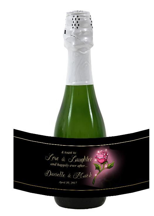 Beauty and the Beast mini wine or champagne label for hotel guest wedding favor. #batb #wedding by #bestwelcomebags