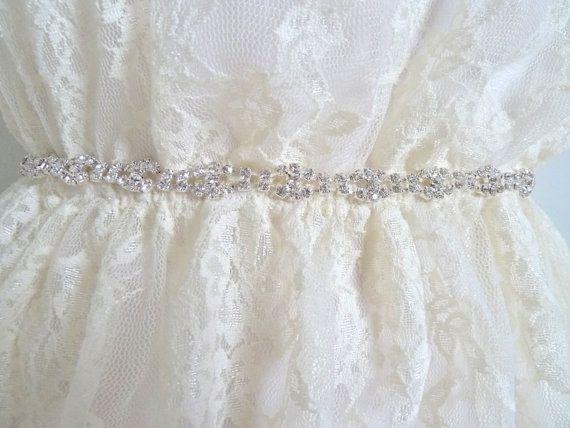 MONA  Thin Bridal rhinestone belt dainty crystal by LiveAdorned