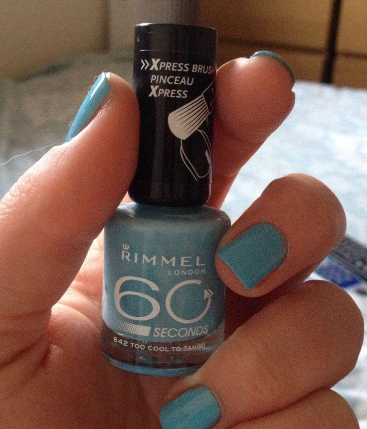 """Pretty blue nails!  Rimmel 60 seconds in """"too cool to tango"""""""