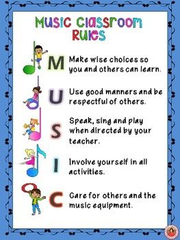 Music Class Rules POSTERS Set 3!   Music Class Rules POSTERS Set 3  There are FIVE landscape pages - ONE poster/page for each letter in the word MUSIC and ONE rule per letter.  ***BONUS INCLUDED*** A one page portrait page containing ALL the rules!    #musiceducation    #musedchat