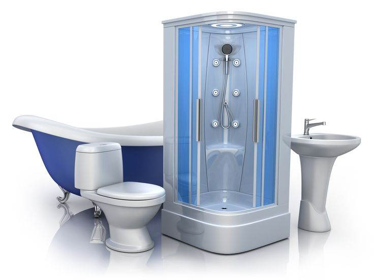 Bathroom equipment on white background (done in 3d)