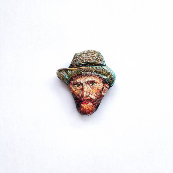 Hand embroidered brooch of Van Gogh's portrait