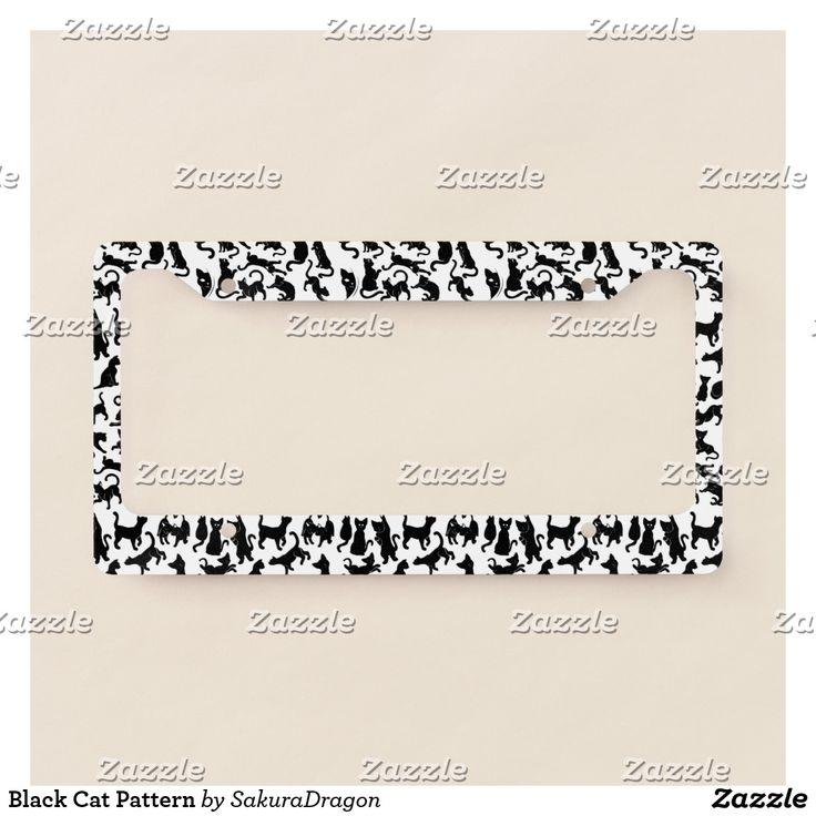 Black Cat Pattern License Plate Frame #cats #pets #animals #blackcat #meow