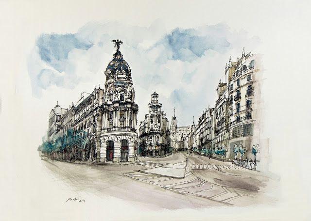 Gran Via de Madrid. Acuarela y Tinta. 407x297mm. Papel canson 300gr