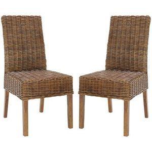 Safavieh Home Collection Aubrey Antique Walnut Wicker Side Chair, Set of 2