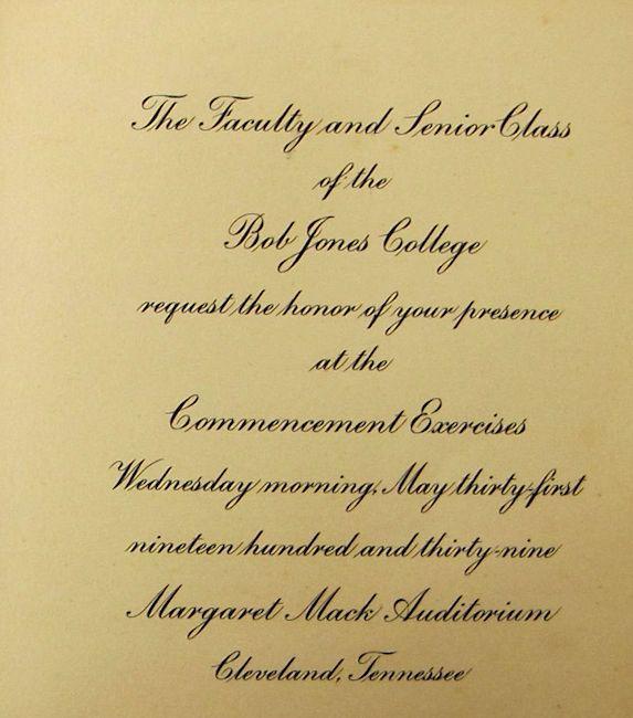 @BJUedu or Bob Jones College, Commencement invitation, 1939. #BJC1939