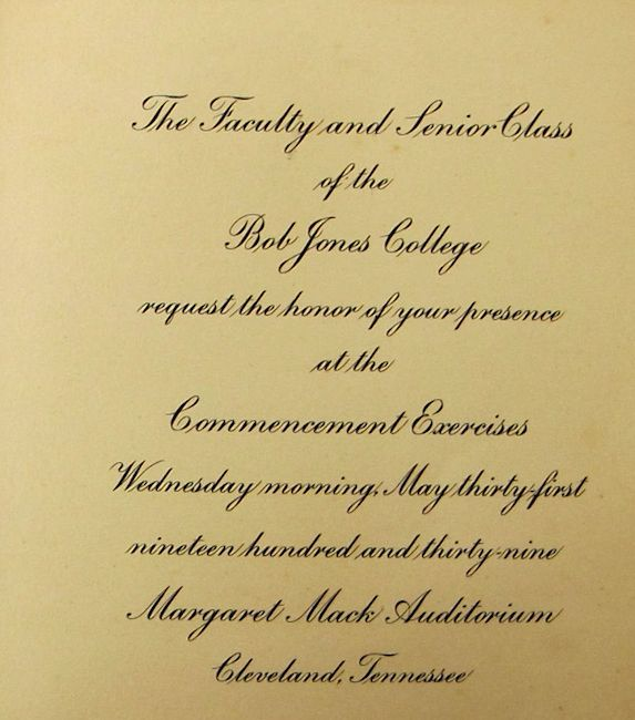 @BJUedu or Bob Jones College, Commencement invitation, 1939. #BJC1939