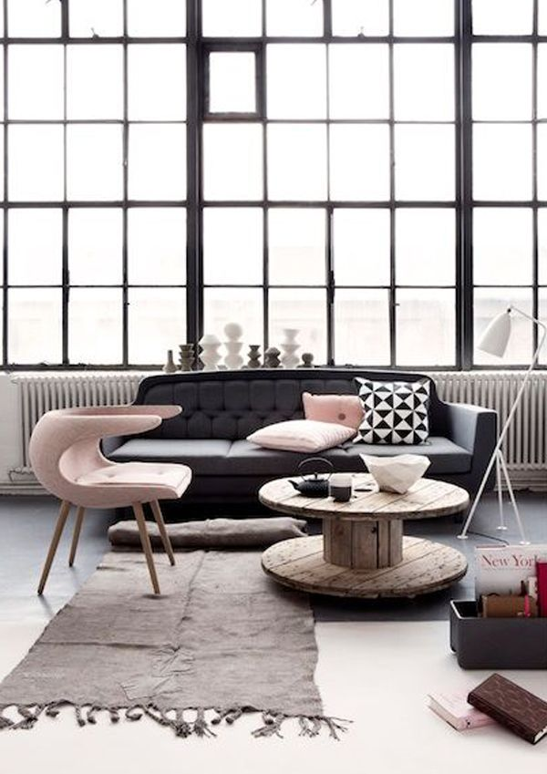 pink, black, white home interiors - love the big loft windows