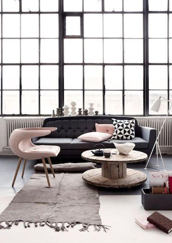 pink, black, white home interiors - love the big loft windows