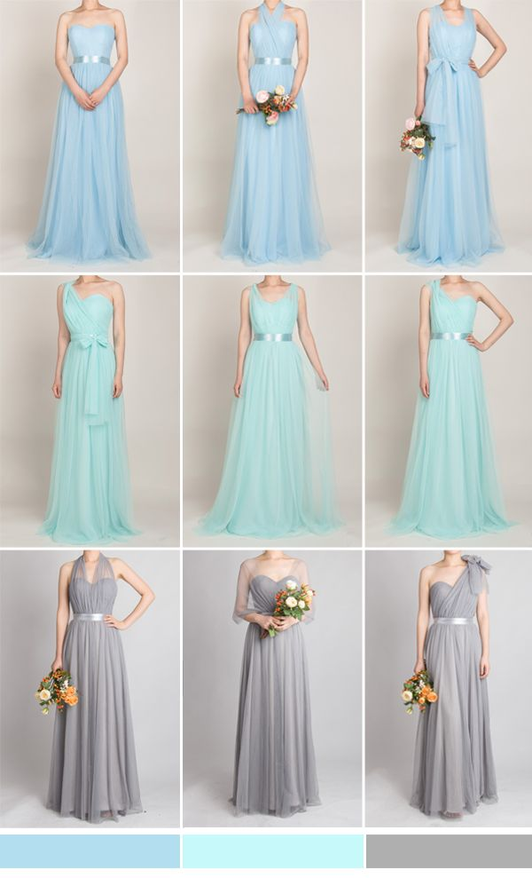 tulle convertible multiway bridesmaid dresses in light sky blue, mint blue and light grey
