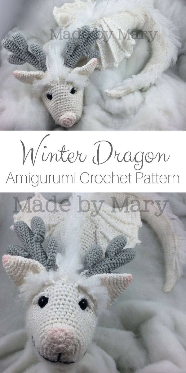 PDF Pattern: Winter Dragon **Crochet pattern only, not actual doll!** Crochet Dragon