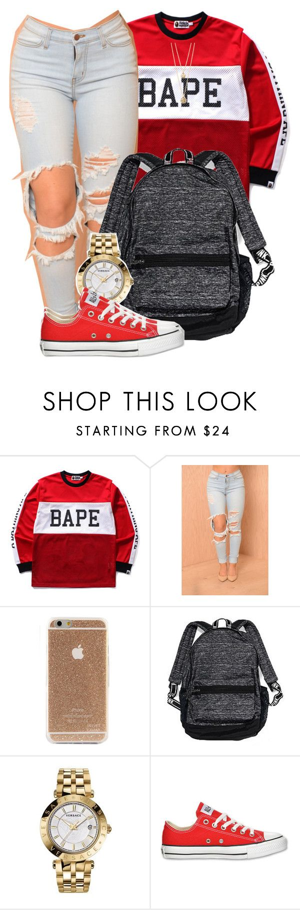 """""""A hunnit' thou what you mean?"""" by mindlesspolyvore ❤ liked on Polyvore featuring A BATHING APE, Victoria's Secret, Versace, Converse, Forever 21, women's clothing, women, female, woman and misses"""