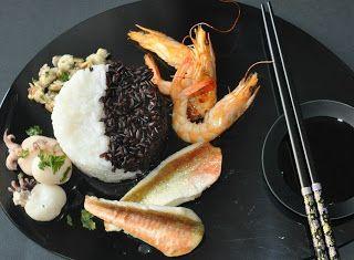 Denny Chef Blog: Riso bianco e Venere con mazzancolle e seppioline al Brandy, vongole e filetti di gallinella di mare
