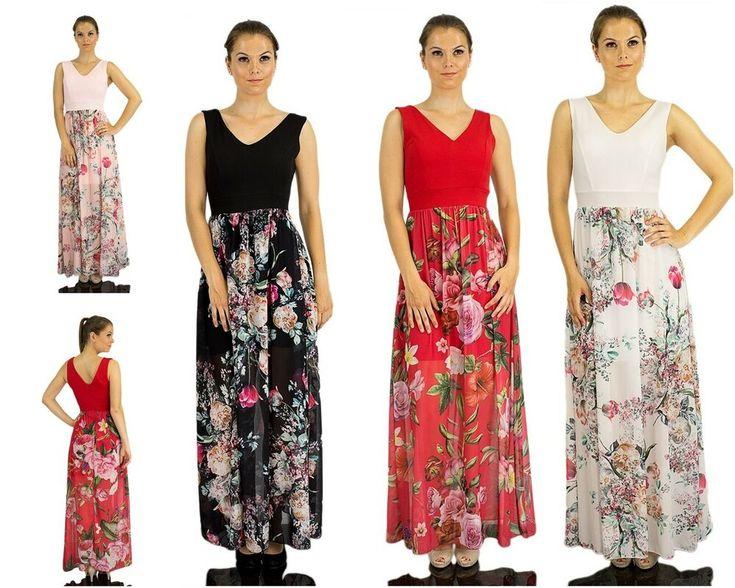 Sommerkleid lang Maxikleid Chiffonkleid Blumen Kleid ...
