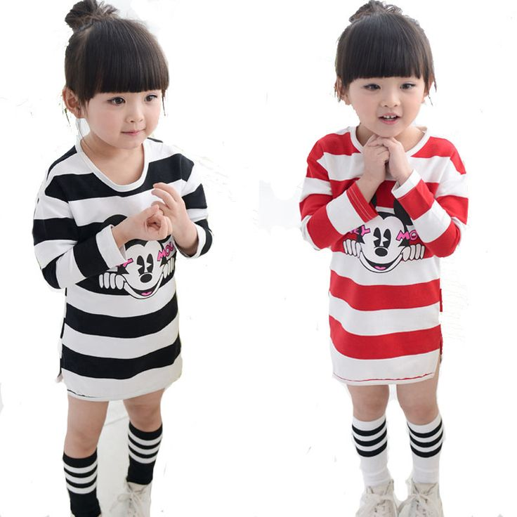 Retail Cartoon Mouse Girls Dress 2016 Spring Autumn Striped Long-sleeved Kids Dresses For Baby Clothes nina fille vestidos