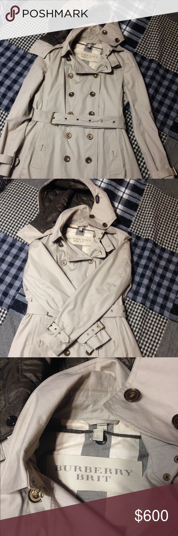 BURBERRY Trench Coat Light Grey Burberry Trench Coat used only once. I have got this coat as a birthday present from my friend years ago but the coat is way bigger than my size (mine is 8 or 10, this one is 12). I guarantee this coat is as new as 99% (the only reason took 1% is because of time). Contact me if you have any further questions about the item. Thank you! Burberry Jackets & Coats Trench Coats