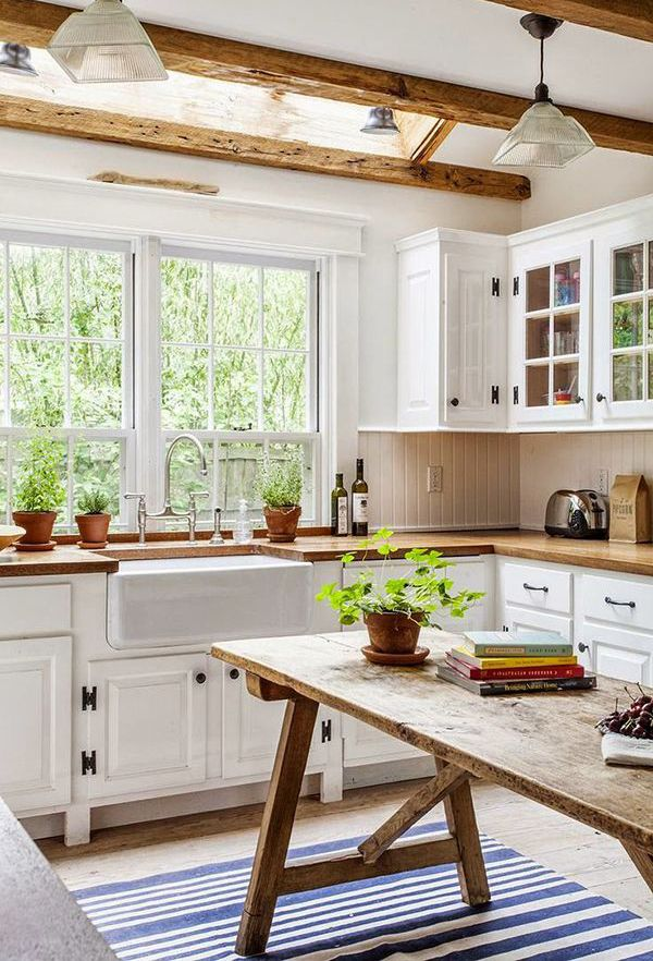 Farmhouse kitchen with pop of blue.