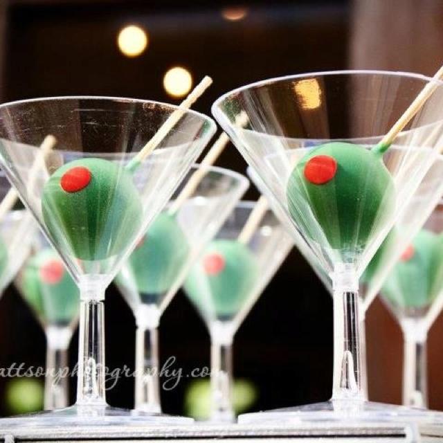Martini cake pops. Awesome idea!