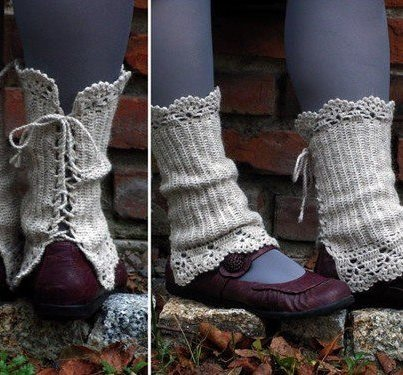 Natural Warm - crocheted open work lacy leg warmers spats cuffs with strings