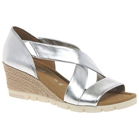 Buy Gabor Lisette Wide Wedge Heeled Sandals, Silver Online at johnlewis.com