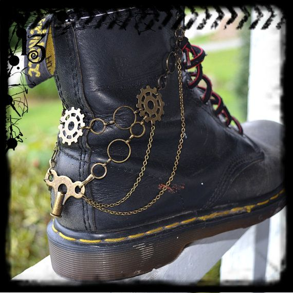 Boot Chain Bracelet - The Clockmaker - For Combat Boots, Army Boots, Docs, Dr. Martens - Steampunk Beauty!